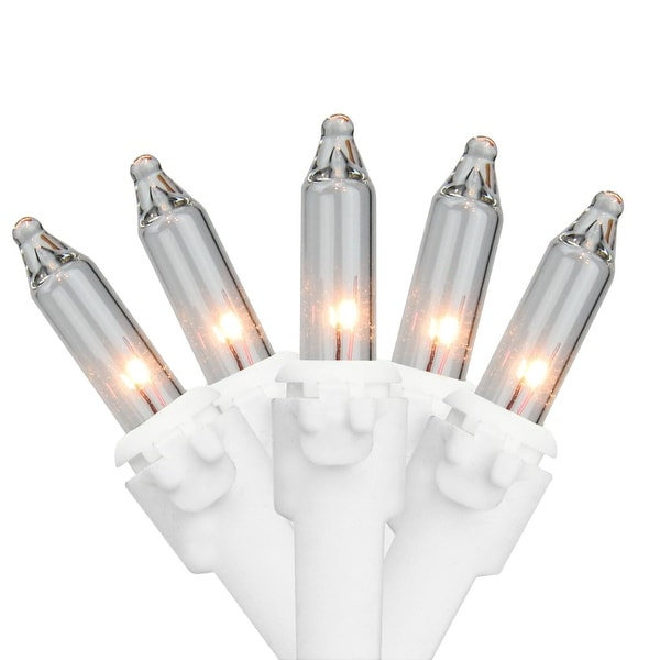"""Set of 50 Clear Mini Christmas Lights 6"""" Bulb Spacing 22 AWG - White Wire"""