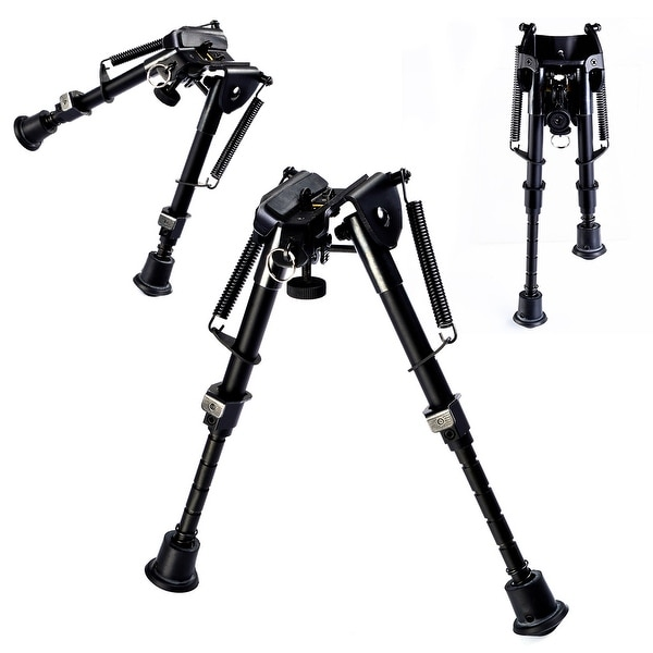 Costway Hunting Rifle Bipod 6'' to 9'' Adjustable Spring Return Sniper Sling Swivel Mount - Black