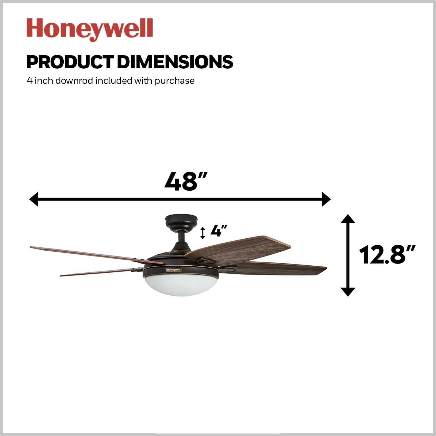 Honeywell Carmel Bronze Ceiling Fan With Integrated Light And Remote 48 Inch Overstock 16000063