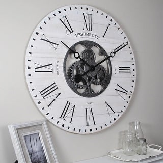 FirsTime & Co. Shiplap Aged White Rough Wood Farmhouse Gear Wall Clock - 27 x 2 x 27 in