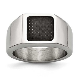 Chisel Stainless Steel Polished Signet Carbon Fiber Ring (12 mm)
