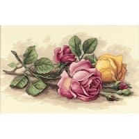 Rose Cuttings Counted Cross Stitch Kit-14''X9''
