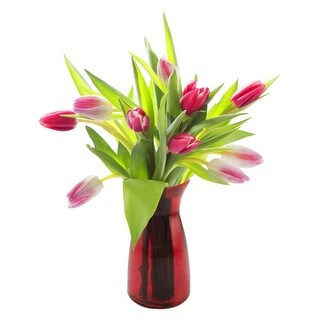 KaBloom: 10 Red and Pink Tulips Farm-Fresh from Holand with Vase