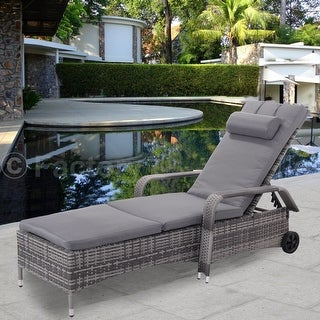 Ordinaire Costway Outdoor Chaise Lounge Chair Recliner Cushioned Patio Furni  Adjustable W/Wheels