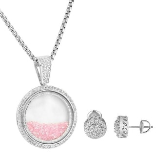 Pink Floating Stones Glass Pendant Earrings Combo Lab Diamonds Free Chain