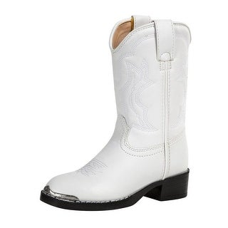 Durango Western Boots Girls Chrome Metal Toe Cowboy Heel White