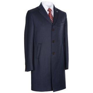 Eidos Napoli By Isaia Wool / Cashmere Overcoat 42R Prussia Navy Blue Italy