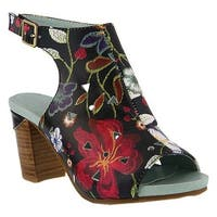 L'Artiste by Spring Step Women's Tapestry Open Toe Bootie Black Multi Leather