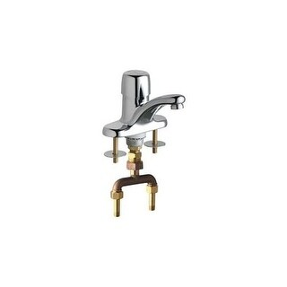 "Chicago Faucets 3400-TABCP Single Supply Hot / Cold Water Basin Faucet with Self Closing Button Handle - 4"" Centerset"