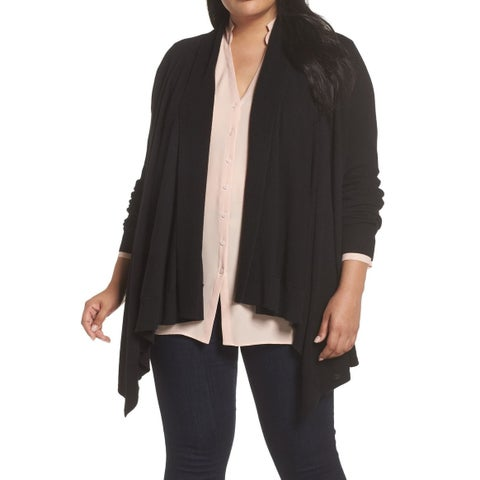 Sejour NORDSTROM Black Waterfall Draped 3X Plus Cardigan Sweater