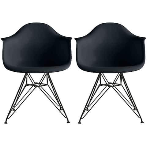 Set of 2 - Modern Plastic Armchair with Black Eiffel Wire Legs Dining Molded Arm Chair