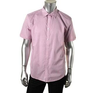 Calvin Klein Mens Cotton Plaid Button-Down Shirt - S