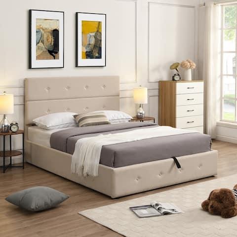 Full Size Upholstered Platform Bed with Underneath Storage,Beige