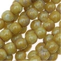 Czech Glass Druk Round Beads 4mm Lt Olive Picasso (100) - Thumbnail 0