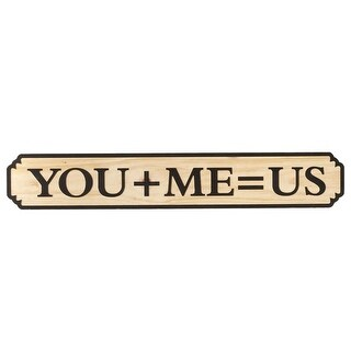 """Set of 2 Brown and Cream White """"You+Me=US"""" Carved Rectangular Wall Decor 46"""""""