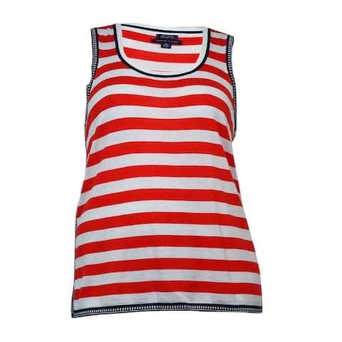 Tommy Hilfiger Women's Scoop Neck Sleeveless Striped Top