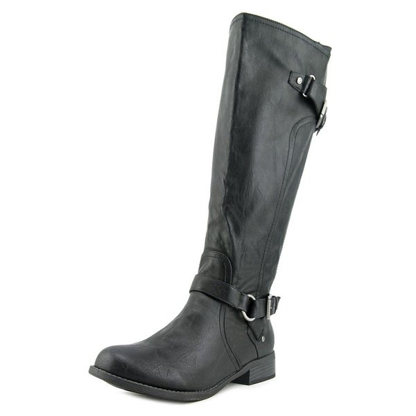 G By Guess Hing Women  Round Toe Leather Black Knee High Boot
