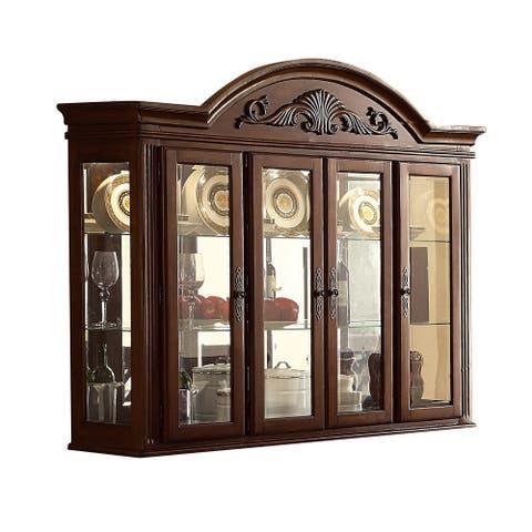 4 Glass Door Wooden Frame Hutch with Scalloped Top, Dark Brown