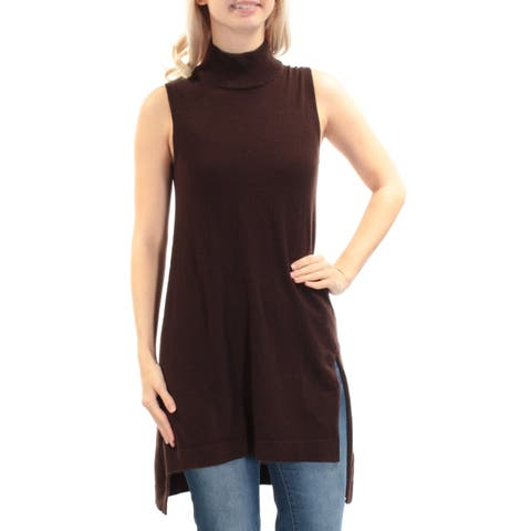 ALFANI Womens Brown Slitted Sleeveless Turtle Neck Hi-Lo Sweater Size: XS