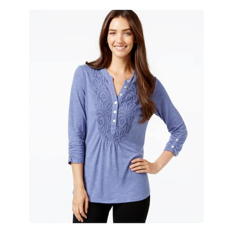 NY COLLECTION Womens Blue Ruched Lace-front 3/4 Sleeve V Neck Tunic Top Size: S