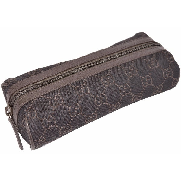 88fd87b0373696 Shop Gucci 251710 Brown Denim GG Guccissima Logo Cosmetic Travel Makeup Bag  - Free Shipping Today - Overstock - 12825545