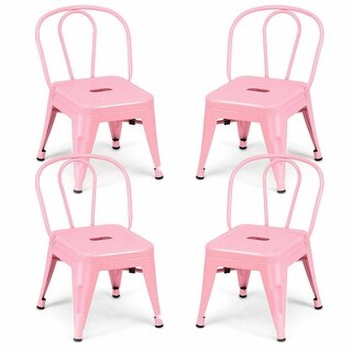 Gymax Set of 4 Stackable Stool Kids Children Lightweight Stool Metal Chairs Pink