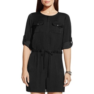 Vince Camuto Womens Romper Sateen Button Down