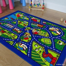 "Allstar Kids / Baby Room Area Rug. Street Map with Blue Vibrant Colors (3' 3"" x 4' 10"")"