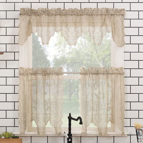 No. 918 Alison Floral Lace Sheer Rod Pocket Kitchen Curtain Valance and Tiers Set