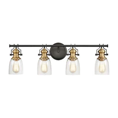 Chadwick 4-Light Vanity Light in Oil Rubbed Bronze and Satin Brass with Seedy Glass