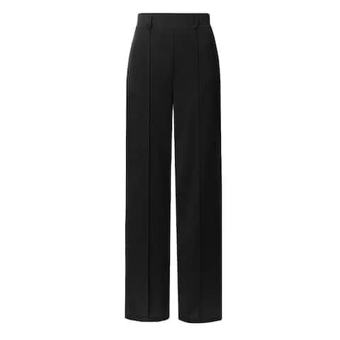 NE PEOPLE Women's Elastic Waist Ankle Length Wide-Leg Pintuck Pants