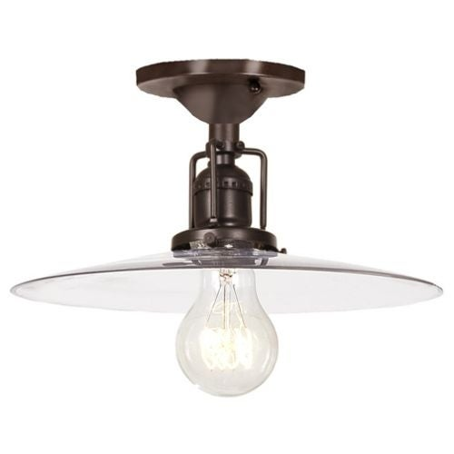 """JVI Designs 1202-08-S6 Union Square 1 Light Semi-Flush 6.25"""" Tall Ceiling Fixture with Clear Mouth-Blown Glass Shade"""