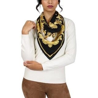 Versace Black/Gold Oceanic Print Silk Foulard Scarf
