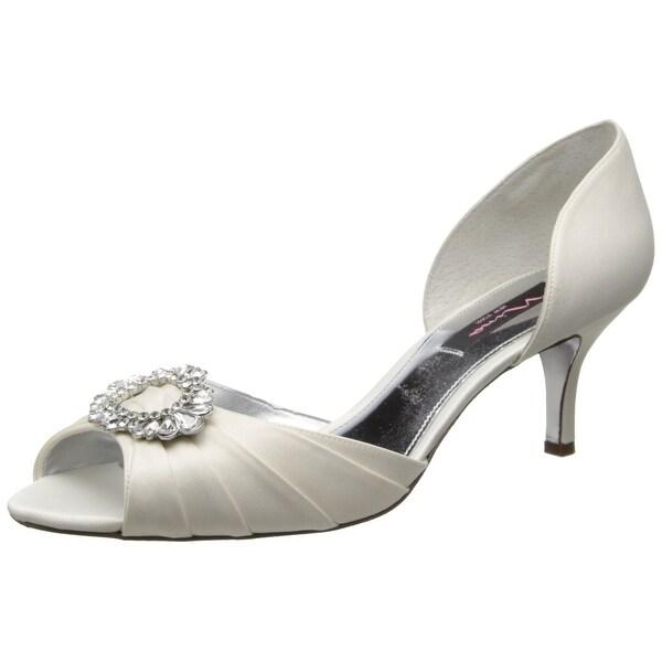 Nina NEW White Ivory Women Shoe 5.5M Crystah d'Orsay Open Toe Pump