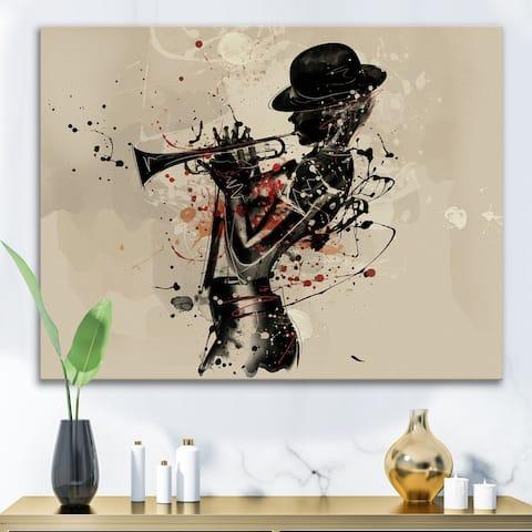 Designart 'Woman Playing Jazz Trumpet' Modern Canvas Wall Art Print