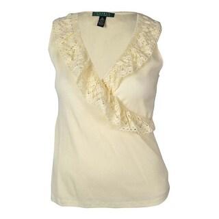 Lauren Ralph Lauren Women's Ruffled Lace Knit Top - Natural - XL