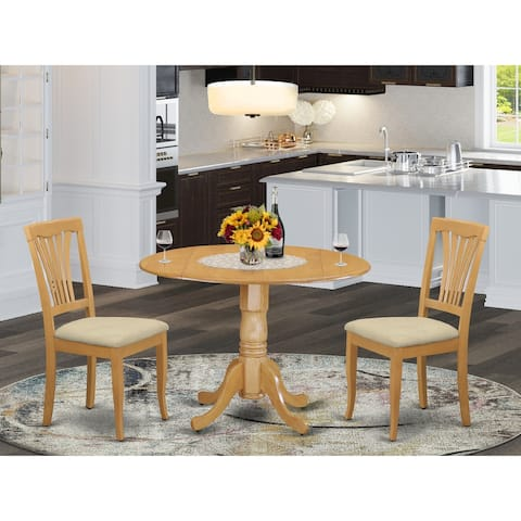 Dining Set Includes Round Kitchen Table and Set of Dinette Chairs in Oak Finish