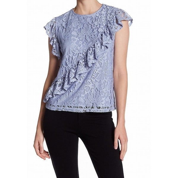 cfc1f47ac7c24 Shop TopShop NEW Purple Womens Size 2 Floral Lace Ruffled Illusion Blouse -  On Sale - Free Shipping On Orders Over  45 - Overstock.com - 21536253
