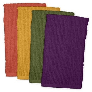 "Pack of 4 Vibrantly Colored Rectangular Dish Towel Kitchen Accessory Set 28"" - Orange"