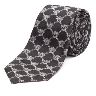 Versace Men's Slim Silk Tie Repeating Medusa Pattern Black Silver - no size