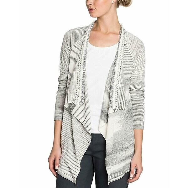 NIC + ZOE Gray Women Large L Draped Stripe Cardigan Sweater