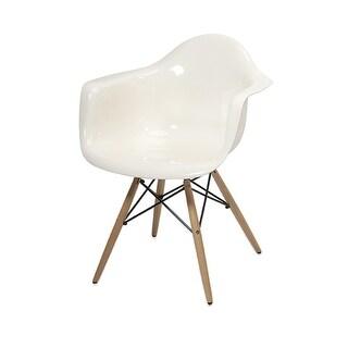 "30.75"" Beckahh Modern Opaque White Arm Chair with Wood Legs"