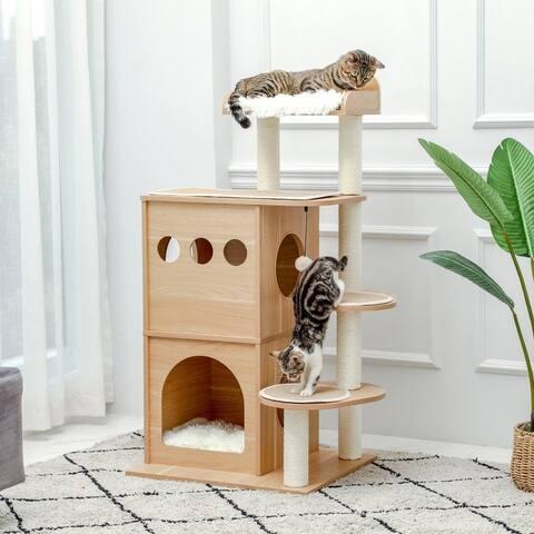 Wooden Luxury Cat Tree - Beige