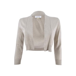 Calvin Klein Women's Petite Sparkle Open-Front Crop Jacket - GOLD