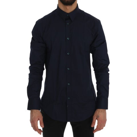Versace Collection Dark Blue Cotton Stretch Dress Shirt Trend Fit