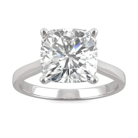3.30ct Moissanite Cushion Solitaire Engagement Ring in 14k Gold