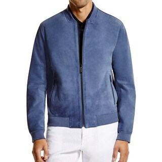 Michael Kors NEW Chambray Blue Mens Size Large L Leather Bomber Jacket