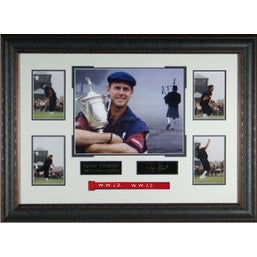 Payne Stewart unsigned US Open Eng Signature 22x33 Tribute Leather Framed Photo w/ WWJD Red Bracelet