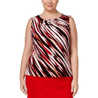 Calvin Klein Womens Plus Shell Printed Pleat Neck