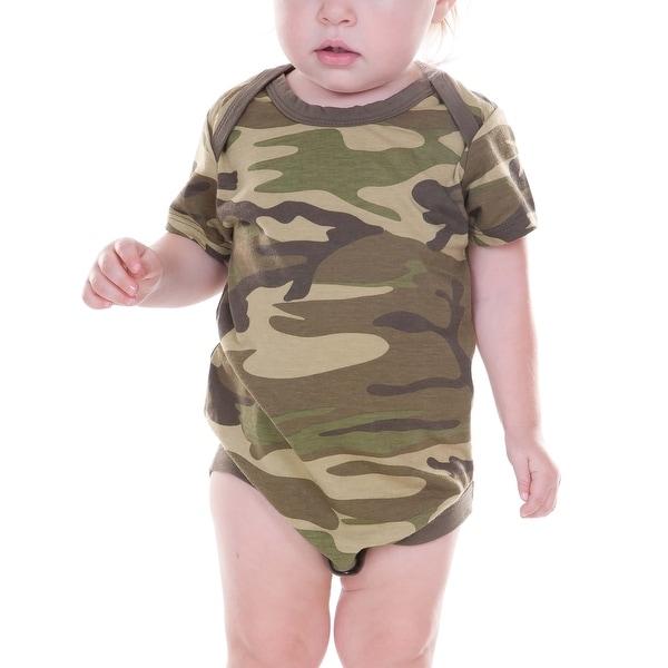 Kavio! Unisex Infants Camouflage Lap Shoulder Short Sleeve Bodysuit Camo